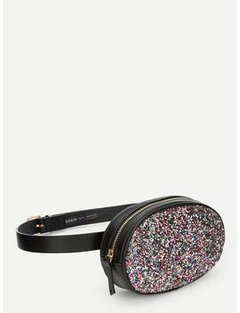 Colorful Sequin Zipper Bum Bag by Shein