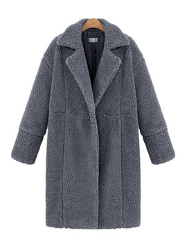 Casual Pure Color Thicken Lapel Long Sleeve Women Plush Coats by Newchic