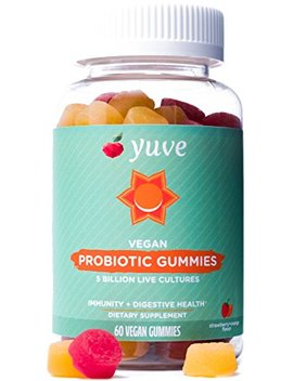 Yuve Vegan Probiotic Sugar Free Gummies   5 Billion Cfu   Promotes Digestive Health & Immunity   Helps With Constipation, Bloating, Detox, Leaky Gut & Gas Relief   Natural, Non Gmo, Gluten Free   60ct by Yuve