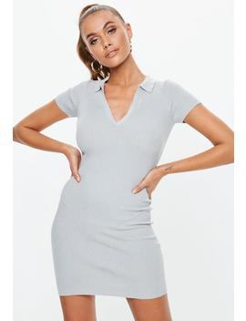 Gray Collar Plunge Knitted Mini Dress by Missguided
