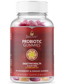 Probiotic Gummies For Kids, Men, And Women. Most Optimal With 5 Billion Cfu Probiotics. Sugar Free, Chewable, All Natural & Vegan | Digestive Health, Constipation Relief & Immunity, Gmo Free. 70... by Be Live