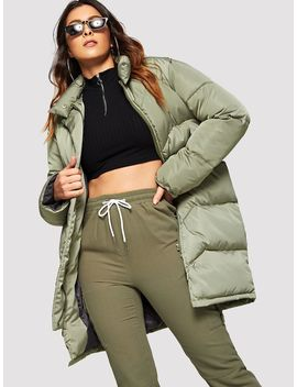 Solid Zip Up Puffer Coat by Shein