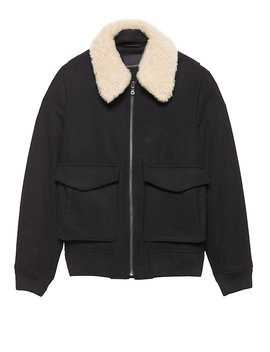Japan Online Exclusive Shearling Collar Bomber Jacket by Banana Repbulic