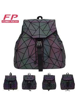 Women Laser Luminous Backpack Mini Geometric Shoulder Bag Folding Student School Bags For Teenage Girl Hologram Bao Backpack by Flower Poetry