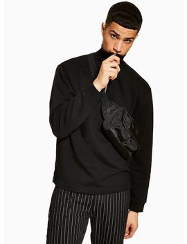 Black Funnel Neck Sweatshirt by Topman