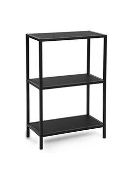 Songmics 3 Tier Bookcase, Storage Shelf, Shelving Racking Unit, Metal Frame Storage Rack, For Kitchen, Bedroom, Living Room, Black Lss90 Bk by Songmics