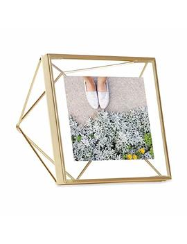 Umbra Fba 313017 221 Prisma 4 X 4 Frame – Floating Wall Or Desk Photo Display For Pictures, Art, Illustrations, Graphic Text & More, Metal, Matte Brass, 4 By 4 Inch by Umbra