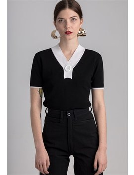 B&W Vintage Knitted Top by Glam Slam