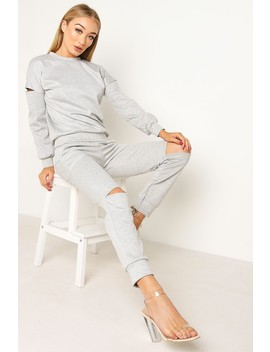 Grey Cut Out Trouser Co Ord Set by Lasula