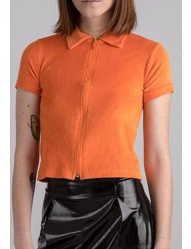 Orange Velvet Zipped Crop Top by Glam Slam