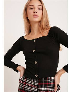 Ribbed T Shirt With Buttons   Black by Subdued