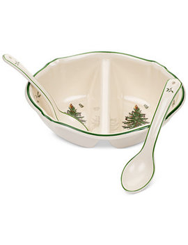 Christmas Tree Divided Serving Dish With 2 Spoon by Spode