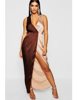 Colour Block Satin Maxi Dress by Boohoo