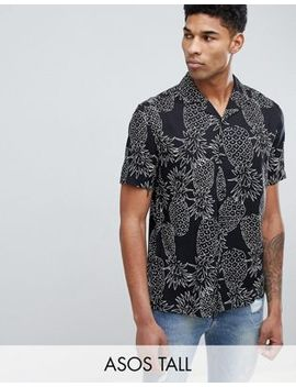 Asos Design Tall – Übergroßes, Schwarzes Hemd Mit Ananas Druckmuster by Asos