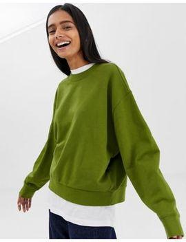 Weekday Huge Cropped Sweatshirt In Khaki Green by Weekday