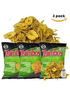 Zambos Plantain Chips – Now Ridged Plantain Chips With Salt (Tajaditas De Plátano Onduladas Con Sal). Unique Flavor From Salvajes Del Trópico   5.46 Ounces (155grams) 3 Pack by Zambos
