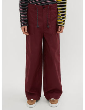 Flared Twill Pants In Burgundy by Marni
