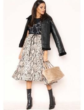Dana Snake Print Pleated Skirt by Missy Empire