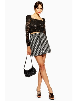 Houndstooth Flocked Skirt by Topshop