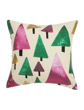 Christmas Trees Sequin Pillow By Mistletoe And Co. by Generic