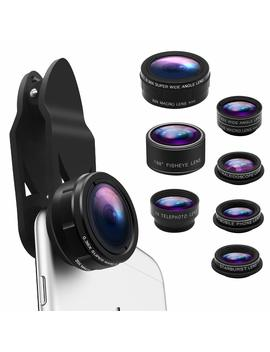 Phone Camera Lens Kit 9 In 1 Zoom Telephoto Lens+0.36 X Wide Lens+0.63 X Wide Lens+20 X Macro Lens+15 X Macro Lens+Cpl+Kaleidoscope+Starburst+198° Fish Eye Lens Compatible With I Phone, Samsung,Smartphone by Keywing