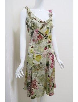 Vintage John Galliano Gazette Newspaper Print Silk Evening Gown Nwt by Etsy