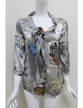 Silk John Galliano Gazette Newspaper Print Womens Shirt by Etsy