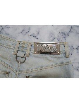 Christian Dior Denim Mini Skirt Large Metal Logo On Back by Etsy