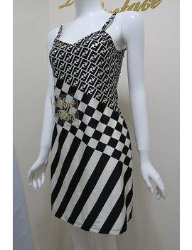 Vintage Fendi Ff Monogram Logo Print Bodycon Black & White Mini Dress by Etsy