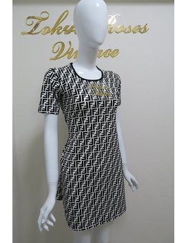 Fendi Ff Zucca Logo Print Black& White Dress by Etsy