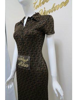 Long Fendi Ff Zucca Logo Print Collared Dress by Etsy