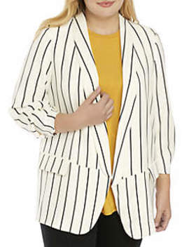 Plus Size Stripe Blazer by Madison