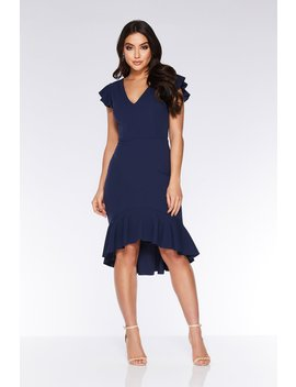 Navy Frill Sleeve Dip Hem Dress by Quiz