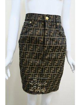 Fendi Logo Print Zucca Skirt Gold Hardware Ff Monogram Brown by Etsy