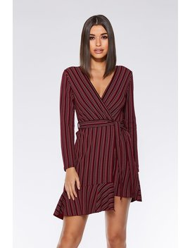 Berry And Black Stripe Tie Belt Dress by Quiz