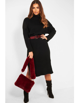 Black Knitted Roll Neck Jumper Dress   Cecily by Rebellious Fashion