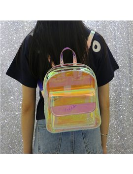 Laser Transparent Backpack Hologram Women Girls Backpack Clear Daily Backpack Teenage Girls Waterproof Pvc Shiny School Bag by Ytaik