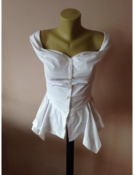 Steampunk Corset Asymmetric Top/ White Taffeta Blouse/Gothic Sexy Slim Fitted Top by Etsy