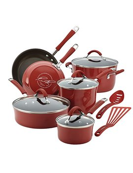 Rachael Ray Cucina Hard Porcelain Enamel Nonstick Cookware Set, 12 Piece, Cranberry Red by Rachael Ray