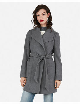 Belted Wool Blend Wrap Coat by Express