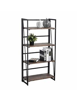 Coavas Folding Bookcase 4 Tiers Bookshelf Wood Rack Cabinet No Assembly Industrial Display Shelves Organizer For Books Plants Kitchen by Coavas