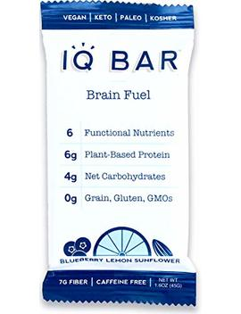 Iq Bar Brain Food Bar, Blueberry Lemon Sunflower, 7g Fiber, 6g Protein, 4g Net Carbs, Keto, Paleo, Vegan, Gluten Free, Low Carb, 1.6oz Bar, 12 Count by Iq Bar