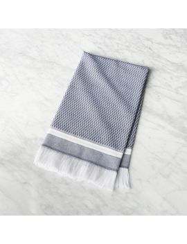 Roca Navy Blue Turkish Hand Towel by Crate&Barrel