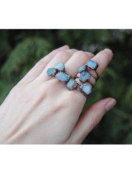 Raw Aquamarine Ring, March Birthstone Ring, Rough Aquamarine Ring, Raw Gemstone Ring, Raw Crystal Ring, Aquamarine Copper Ring, Boho Jewelry by Etsy