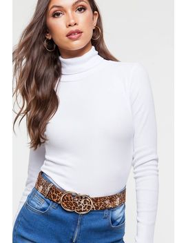 Ribbed Turtleneck Long Sleeve by A'gaci