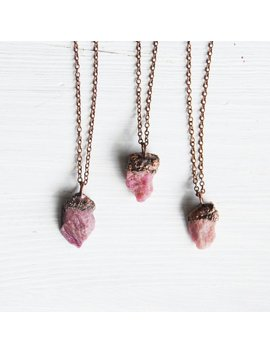 Pink Tourmaline Necklace, Raw Tourmaline Pendant, Rough Tourmaline Necklace, Tourmaline Copper Necklace, Boho Necklace, Boho Jewelry by Etsy