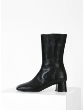 Square Middle Ankle Boots Black by Menodemosso