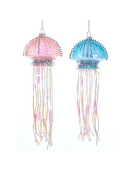Kurt Adler Pink And Blue Jellyfish  Holiday Ornaments Glass Set Of 2 by Kurt Adler