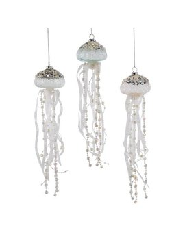Jeweled Jellyfish Glass And Ribbons Christmas Holiday Ornaments Set Of 3 by Katherine's Collection