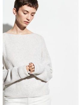 Ribbed Wool Cashmere Boatneck by Vince